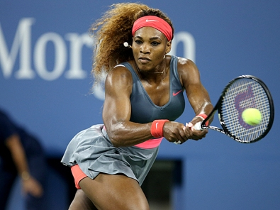Serena Williams of USA wins her first round match at Arthur Ashe Stadium on day one of the US Open 2013 in New York