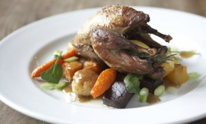 Food on a dinner plate from The Pheasant at Gestingthorpe, Essex